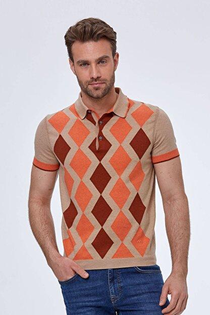 Hemington Erkek Bej Baklava Desen  Triko Polo T-shirt