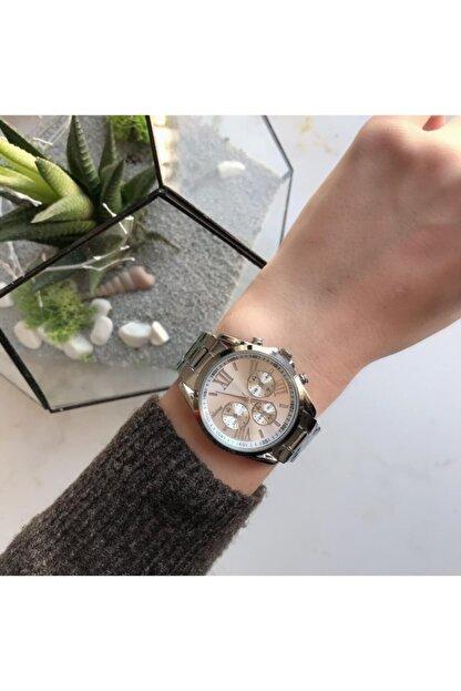 OQQO Kadran Tasarımlı Metal Gümüş Kadın Kol Saati