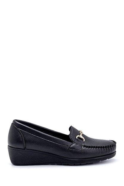 Derimod Kadın Siyah Dolgu Topuklu Loafer Ayakkabı