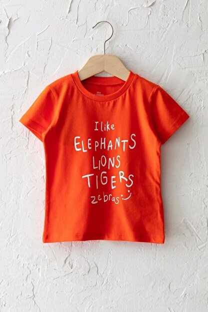 LC Waikiki Erkek Bebek Canlı Turuncu Grm T-Shirt