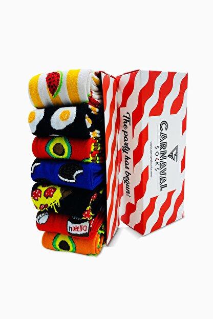 CARNAVAL SOCKS 7'li Carnaval Renkli Tasarım Çorap Set 1027