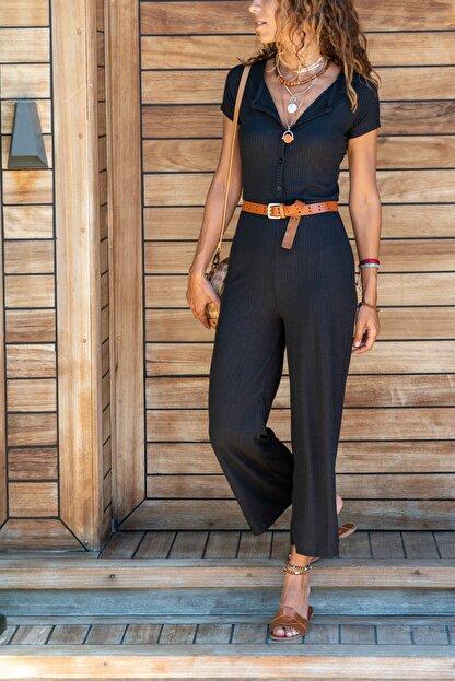 Güneşkızı Kadın Siyah Düğmeli Basic Tulum GK-BST2876