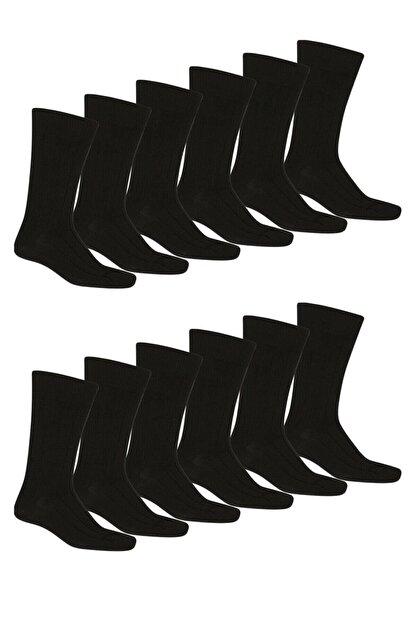 Star Socks 12 Li Erkek 4 Mevsim Pamuklu Siyah Soket Çorap