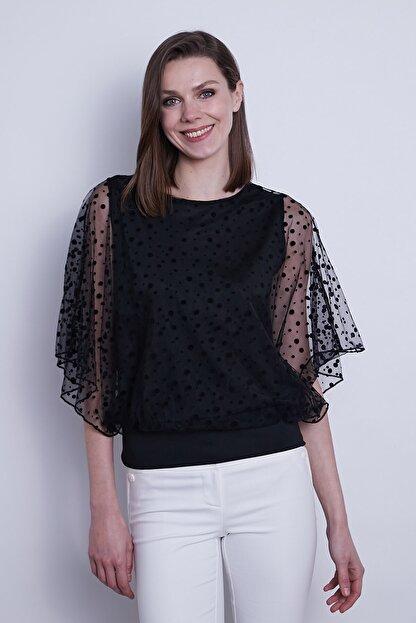 Jument Kadın Organze Desenli Tül Detaylı Kayık Yaka Yarasa Kol Bluz-Siyah Puan