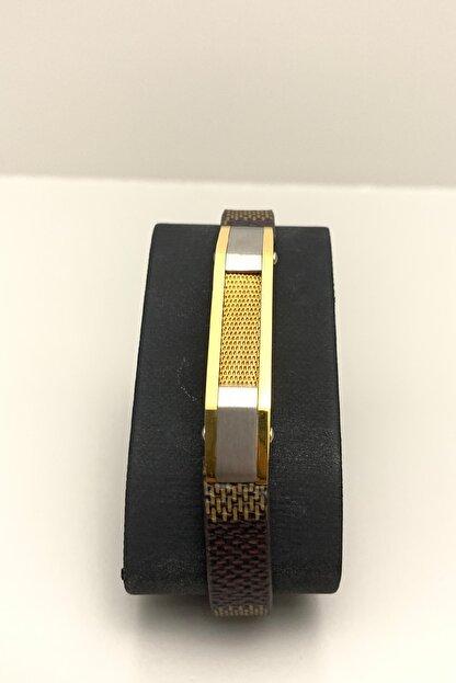 HEDİYELİMANİ Kahverengi Kordonlu Altın Sarı Gümüş Renk Erkek Çelik Bileklik