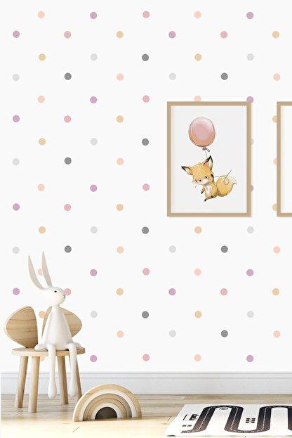 Norm Design Pembe 204 Adet Candy Soft Renkli Yuvarlak Duvar Stickerı