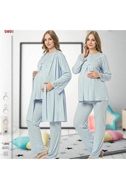 Nehir Hamile  Pijama Sabahlık Takımı 3 lü