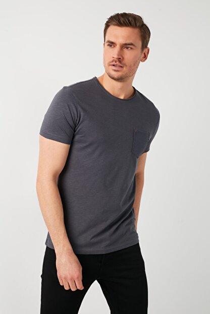 Buratti Erkek Gri Pamuklu Bisiklet Yaka Cepli T-Shirt