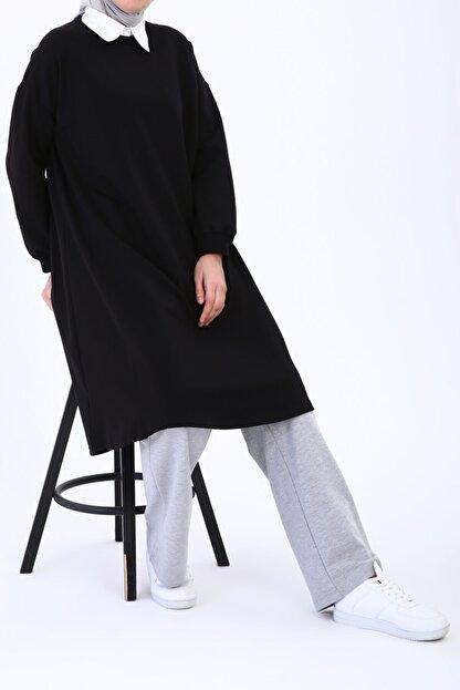 Ekrumoda Siyah Basic Kloş Tunik