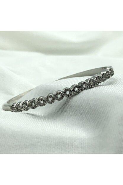 1001TAKI Kadın Gümüş Kelepçe Model Zirkon Taşlı Çelik Bileklik Bb1238