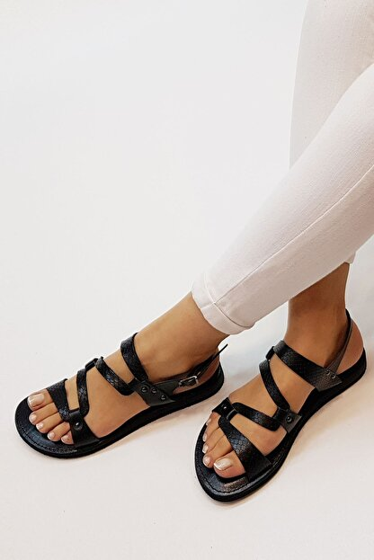 Marjin Kadın Siyah Yılan Hakiki Deri Günlük Sandalet Perte