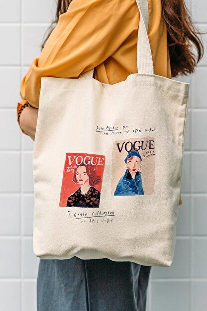 Çınar Bez Çanta Kanvas Vogue Baskılı Bez Çanta