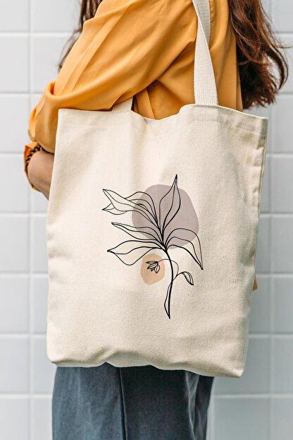Çınar Bez Çanta Kanvas Draw Cream Flower Baskılı Bez Çanta