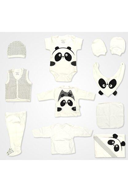 Bebbek Panda Desenli Hastane Çıkış Seti 10'lu - Siyah