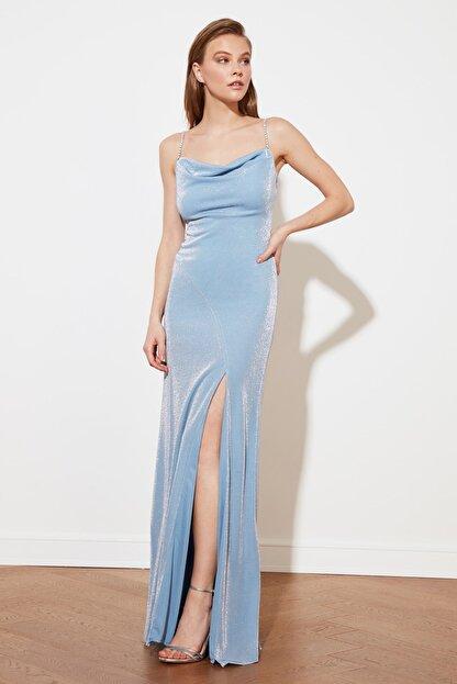 TRENDYOLMİLLA Mavi Askı Detaylı Abiye & Mezuniyet Elbisesi TPRSS19UT0102