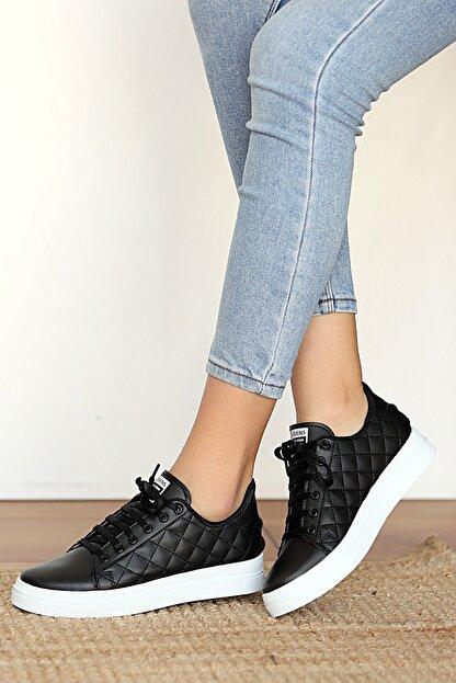 Pembe Potin Kadın Siyah Sneakers