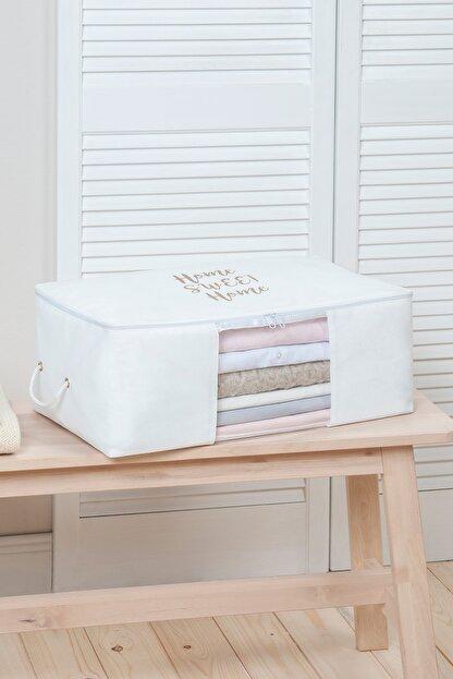 Ocean Home Orta Boy Beyaz Renk,pvc Detaylı, Baskılı Hurç // 52x28x21