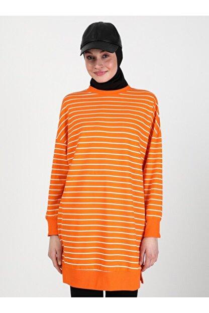 Soul Kadın Turuncu Çizgili Sweatshirt