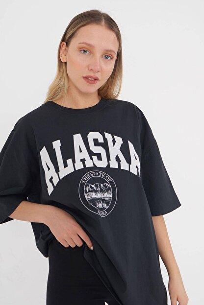 Addax Kadın Füme Baskılı T-shirt P9525 - P13 ADX-0000023818