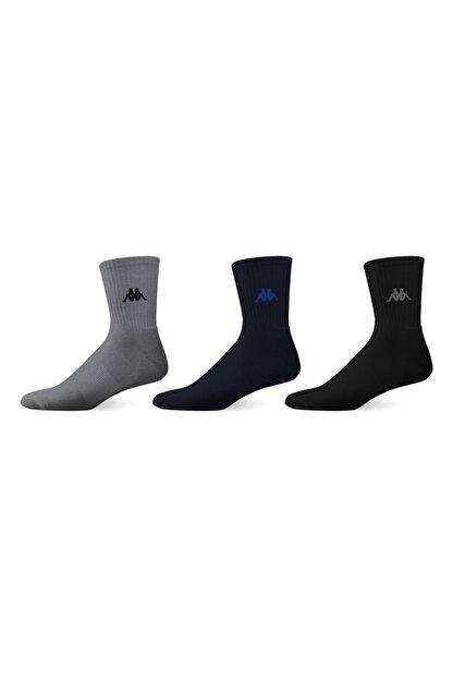 Kappa Erkek Laci Gri Siyah Kısa Konç Çorap 3'lü Paket