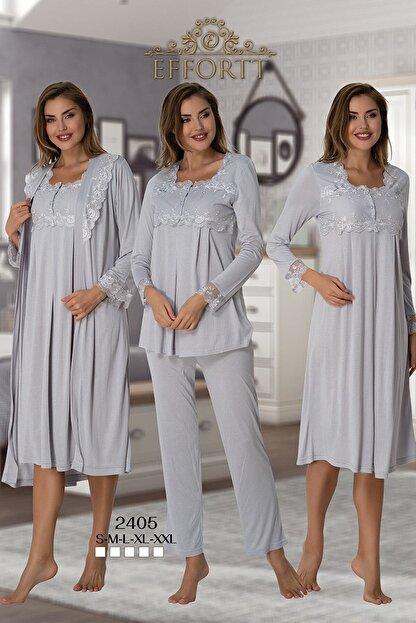 Effort Pijama Effortt 2405 Gri Lohusa Hamile 4'lü Set