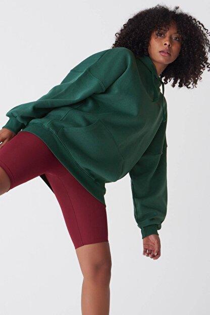 Addax Kadın Zümrüt Kapüşonlu Sweatshirt S0519 - P10V1 Adx-0000014040