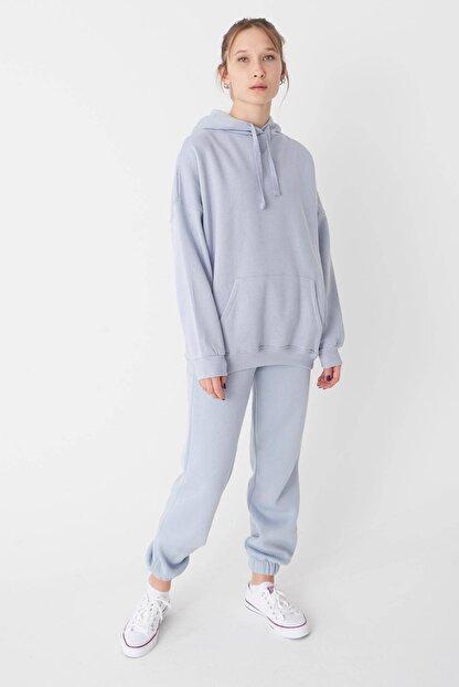 Addax Kadın Buz Mavi Kapüşonlu Sweatshirt S0519 - P10V1 Adx-0000014040