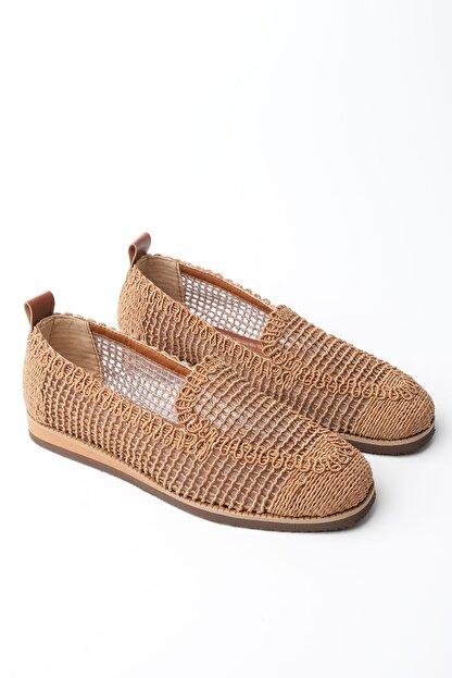 Marjin Kadın Taba Toliva Örgü Hasır Loafer Ayakkabı
