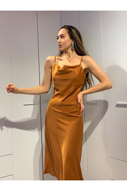 Cappole Kadın Saten Kiremit Elbise