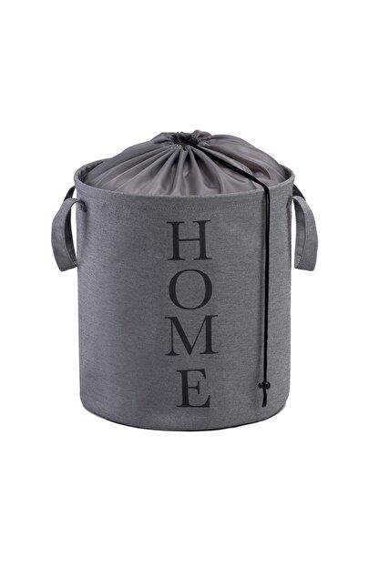 Ocean Home Baskılı Katlanır Çamaşır Sepeti (GRİ) - 36x40 Cm