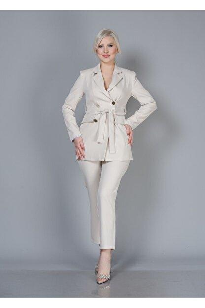Alta Moda Kadın Krem Double Kumaş Ikili Takım Ceket Pantolon