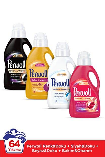 Perwoll Hassas Bakım Sıvı Çamaşır Deterjanı  4 x 1L (64 Yıkama) Siyah + Renkli + Bakım Onarım + Beyaz