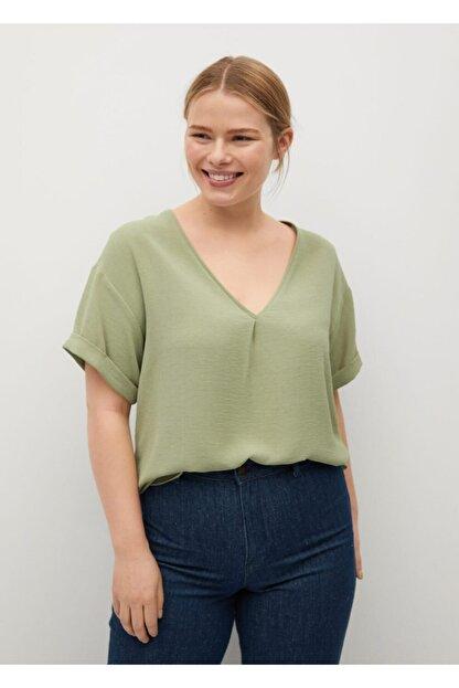 Mango Kadın Yeşil Kısa Kollu Bluz