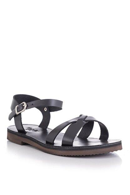 DaphneSandals El Yapımı Hakiki Deri Siyah Kadın Sandalet - 4003