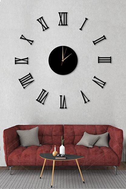 Dekolia Büyük Ahşap Romen Rakamlı  Göbek Duvar Saati Art1130