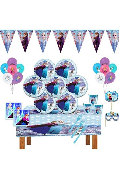 DİSNEY Frozen Karlar Ülkesi Elsa Doğum Günü Parti Malzemeleri Süsleri Seti 8 Kişilik