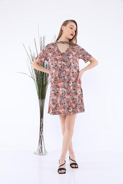 Tiefti Kadın Kahverengi Çiçekli Elbise