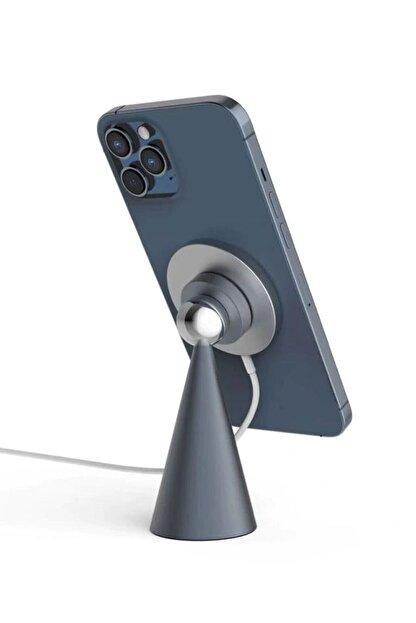 BSD GİFTED Masa Üstü Mıknatıslı Metal Telefon Tutucu Stand + Iphone 12 Kablosuz Şarj Aleti