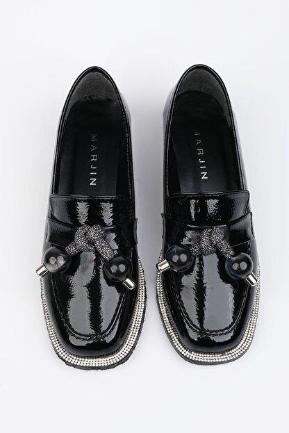 Marjin Kadın Siyah Rugan Loafer Ayakkabı Favol