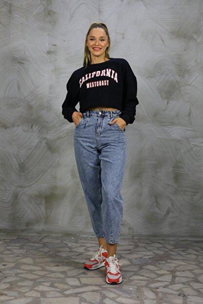 Grenj Fashion Kadın Açık Mavi Kar Yıkama Önü Pileli Yüksek Bel Balon Jean Pantolon