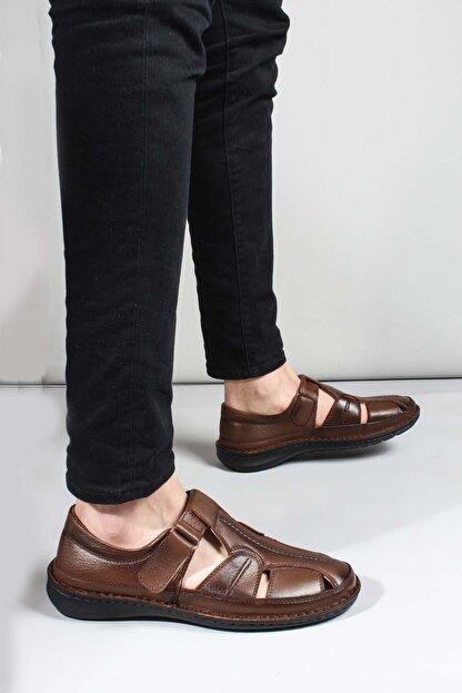 Fast Step Erkek Hakiki Deri Taba Klasik Sandalet 662ma119b