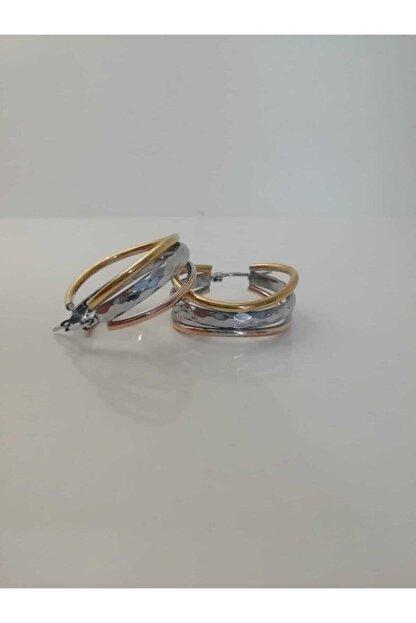 aslica accessories Çelik 3 Renk Altın Kaplama Halka Küpe