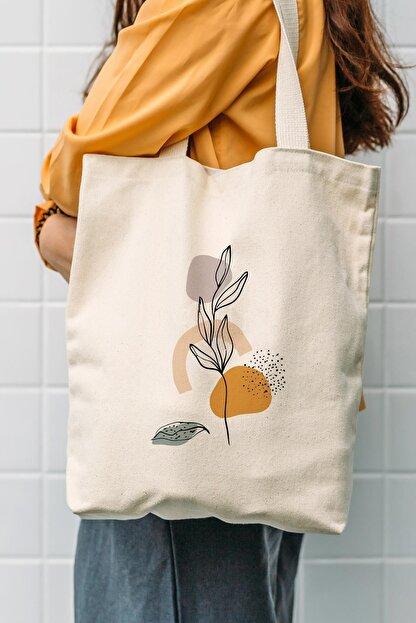 Çınar Bez Çanta Kanvas Art Flower Baskılı Bez Çanta