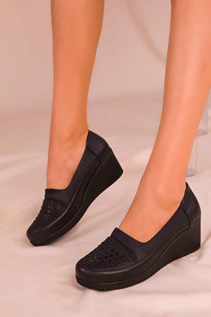 Soho Exclusive Siyah Kadın Dolgu Topuklu Ayakkabı 15979