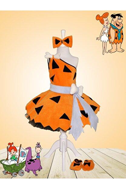 Zeze Kostüm Kız Çocuk Turuncu Taş Devri Çakıl Kostümü