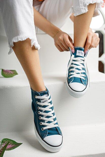 Muggo Unisex Mavi Keten Ayakkabı Mgcrs37