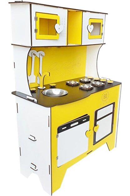 WoodyLife 104 cm Çocuk Odası Ahşap Mutfak Montessori Oyuncak Dolabı Sarı Zeytindalı Oyunevi Kutu