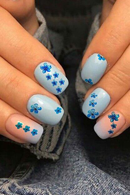 Takıştır Mavi Renk Çiçek Desenli Tırnak Dövmesi