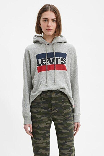 Levi's Kadın Kapüşonlu Gri Sweatshirt 35946-0111