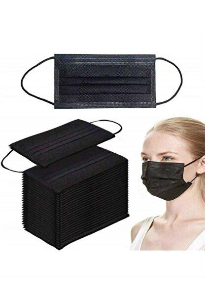 Medikal Maske Siyah Telli 3 Katlı Tam Ultrasonik Cerrahi Maske 100 Adet 2 Kutu